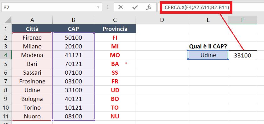 esempi1 guida alla nuova funzione CERCA X di Excel